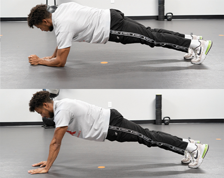 man doing plank up