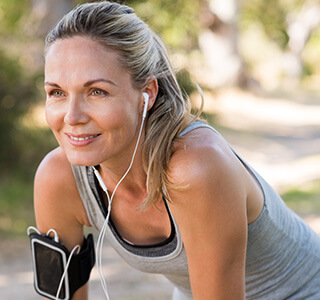 woman smiling after workout