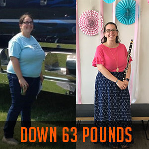 woman smiling in before and after weight loss photos