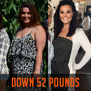 woman smiling in weight loss before and after photos