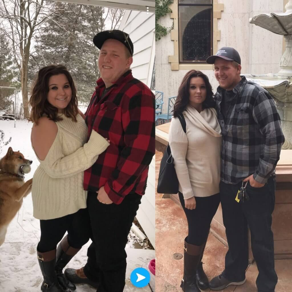 woman and her fiance smiling in weight loss before and after photos