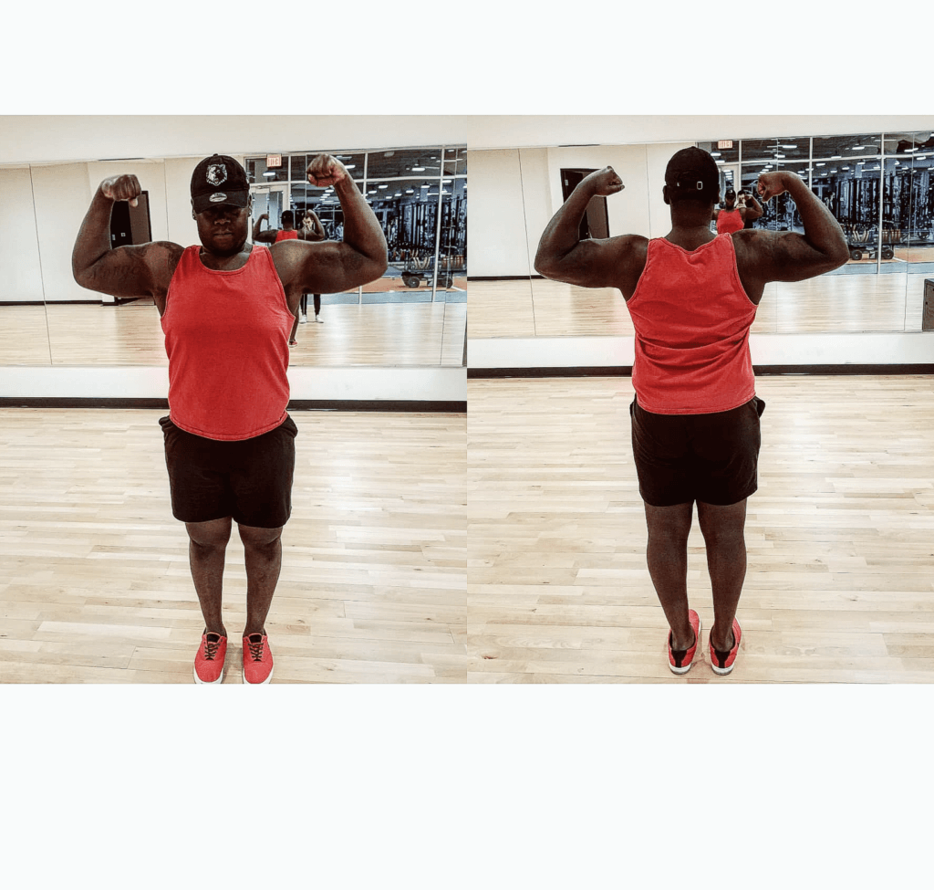 man flexes after weight loss