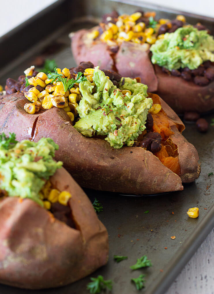 cold black bean stuffed sweet potatoes