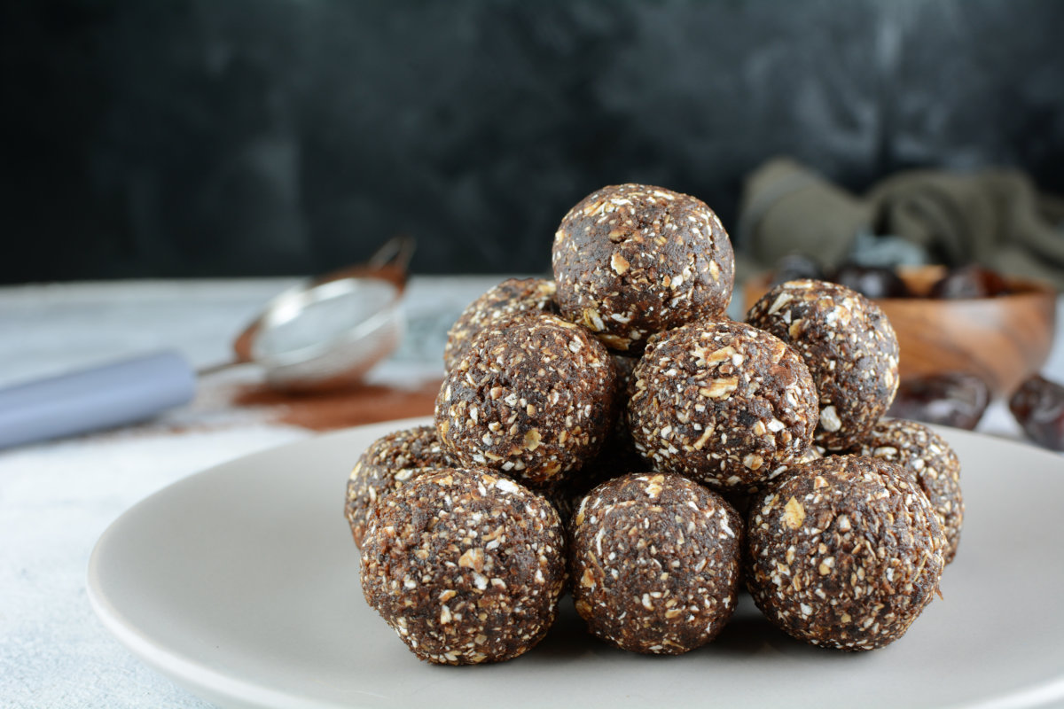 energy balls stacked on plate