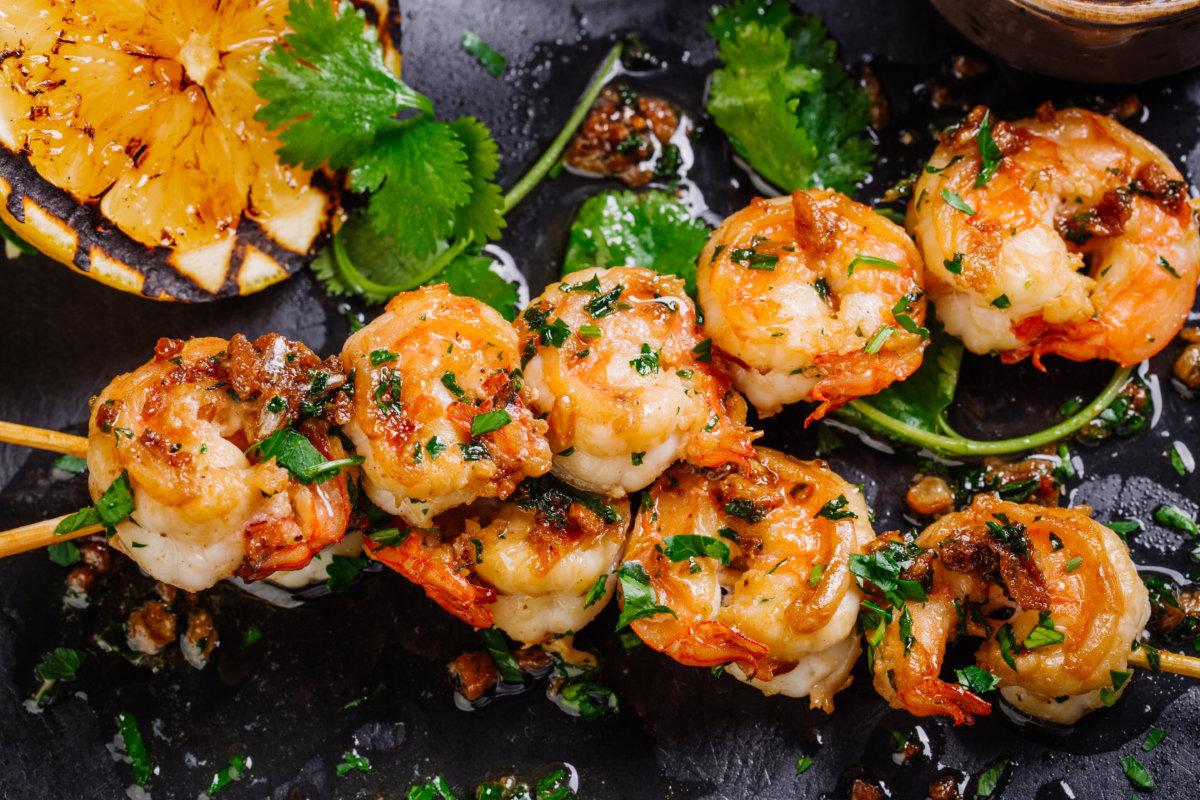 grilled shrimp on skewers