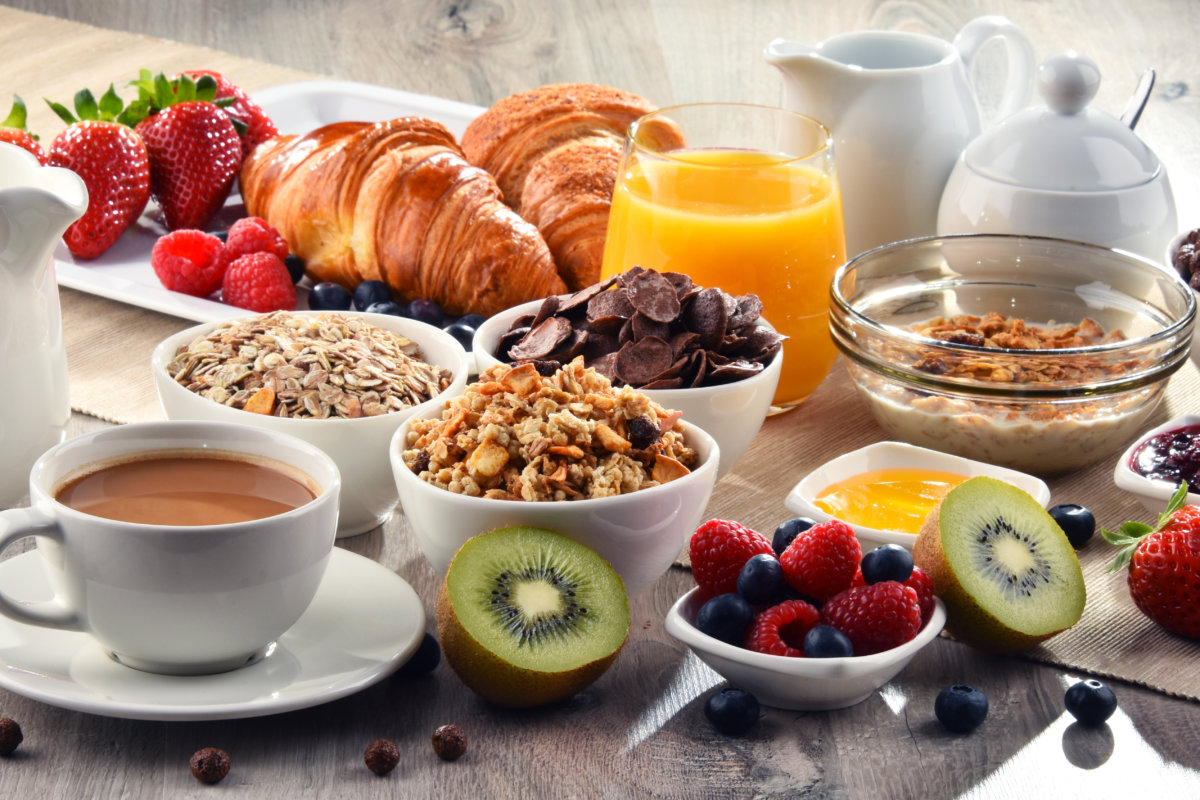 table filled with breakfast food