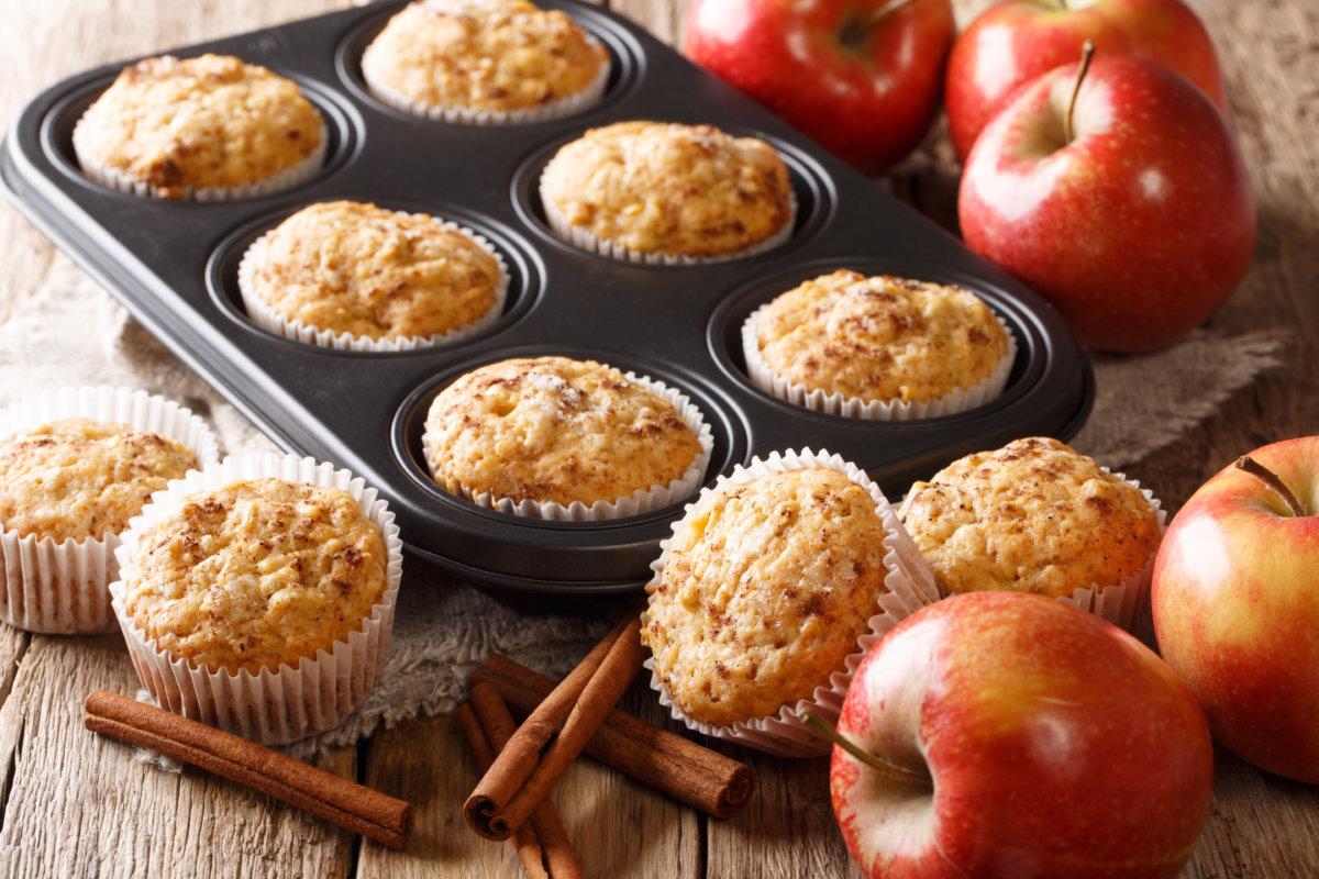 muffins, apples, and cinnamon sticks