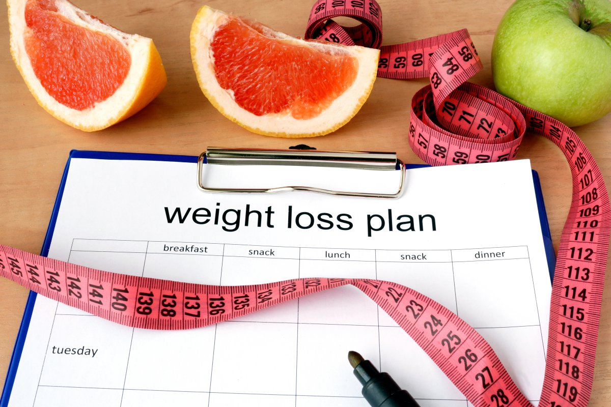 weight loss plan, measuring tape, fruits, pen